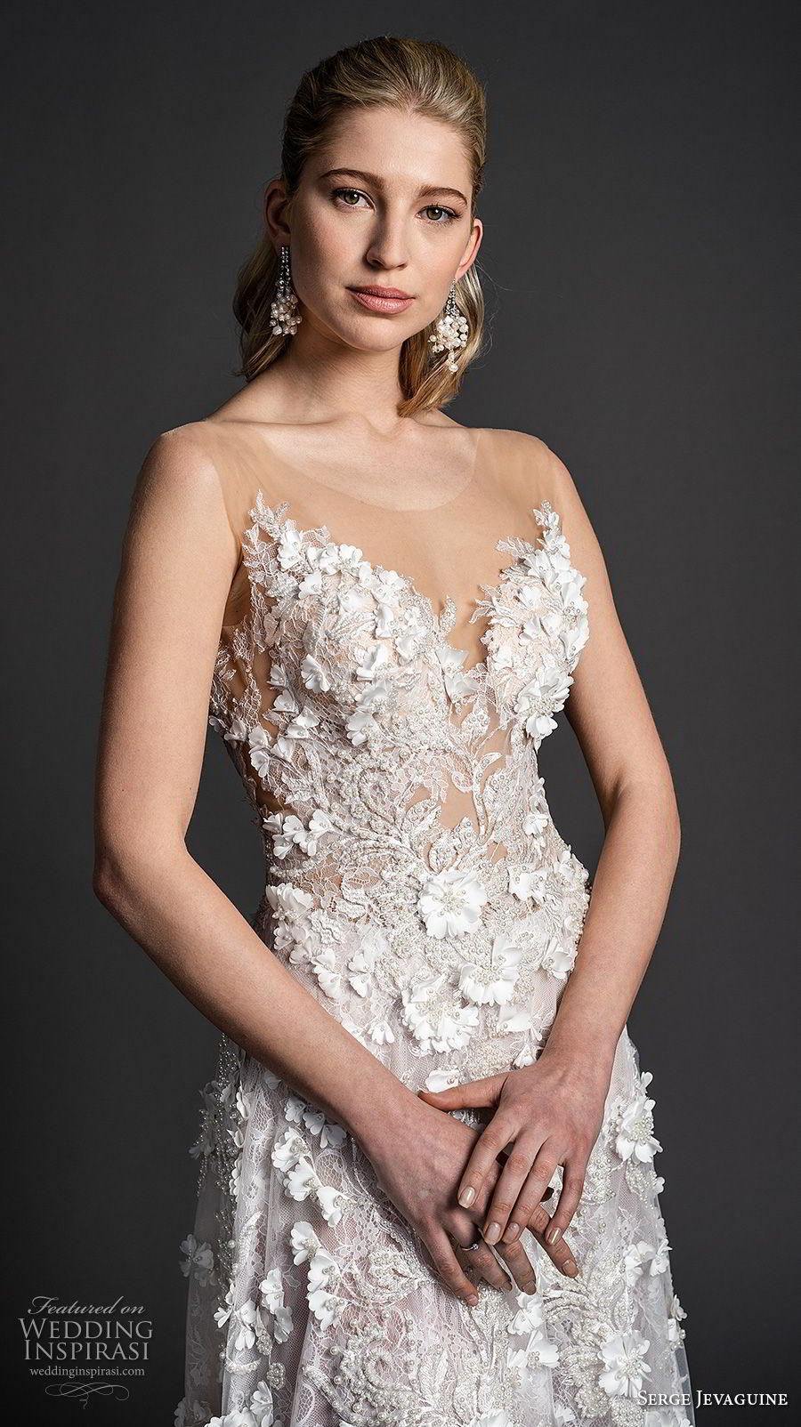 serge jevaguine 2019 bridal sleeveless illusion jewel sweetheart neckline full embellishment romantic a  line wedding dress low open back medium train (1) zv