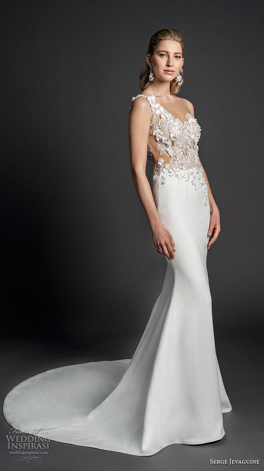 serge jevaguine 2019 bridal sleeveless one shoulder asymmetrical neckline heavily embellished bodice elegant fit and flare sheath wedding dress chapel train (6) mv
