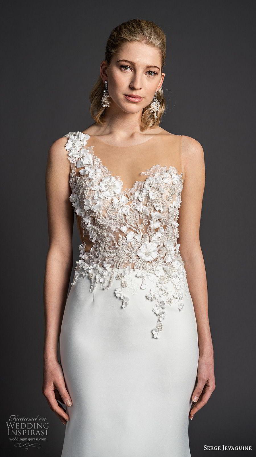 serge jevaguine 2019 bridal sleeveless one shoulder asymmetrical neckline heavily embellished bodice elegant fit and flare sheath wedding dress chapel train (6) zv