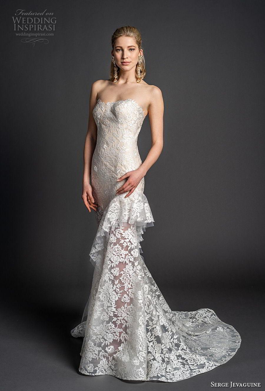 serge jevaguine 2019 bridal strapless semi sweetheart neckline full embellishment elegant mermaid wedding dress short train (8) mv