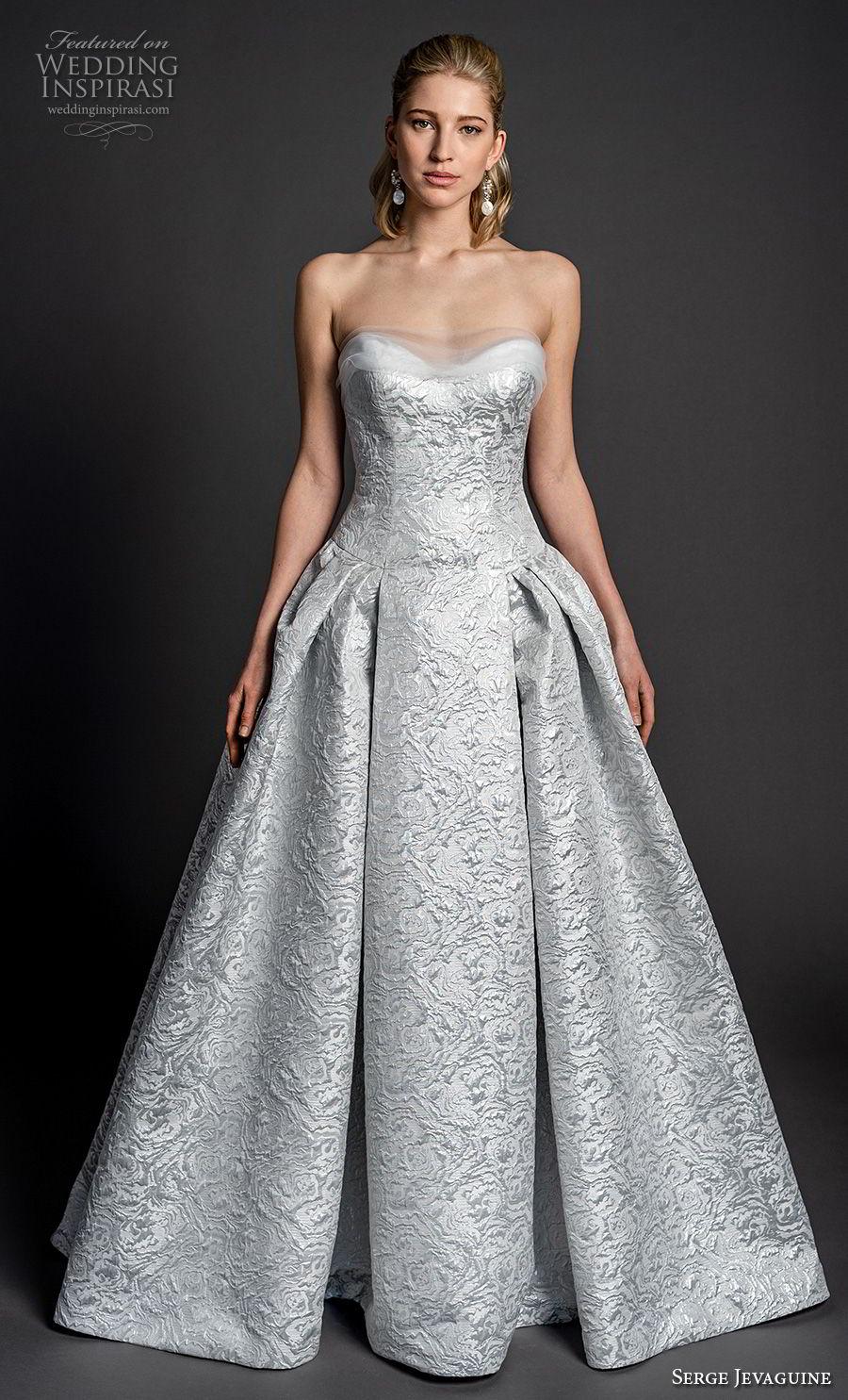 serge jevaguine 2019 bridal strapless sweetheart neckline full embellishment glamorous elegant light blue ball gown a  line wedding dress (4) mv