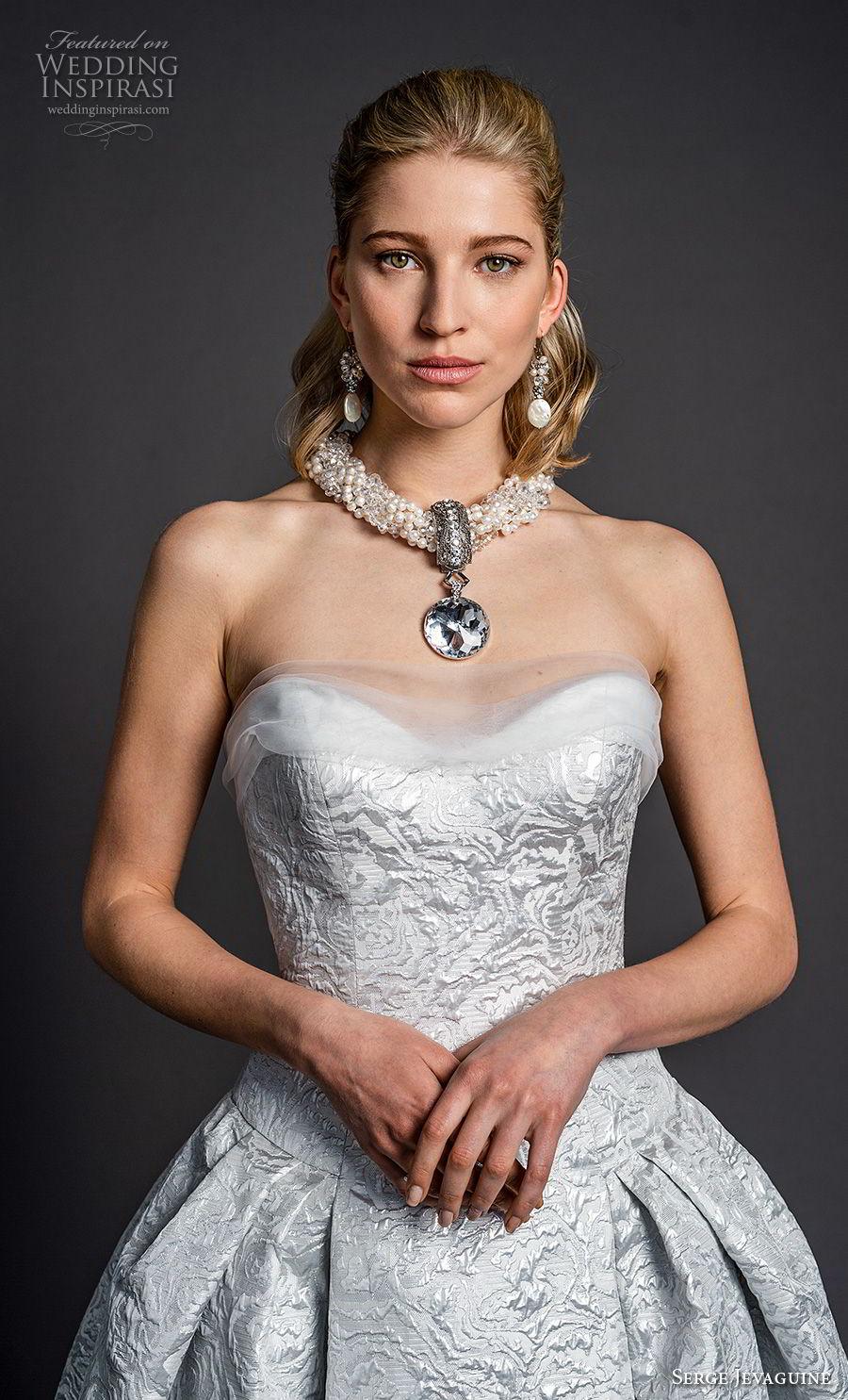 serge jevaguine 2019 bridal strapless sweetheart neckline full embellishment glamorous elegant light blue ball gown a  line wedding dress (4) zv