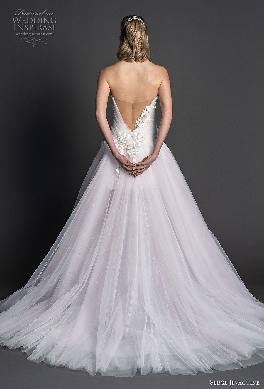 serge jevaguine 2019 bridal strapless sweetheart neckline heavily embellished bodice tulle skirt romantic blush a  line wedding dress v back chapel train (3) bv