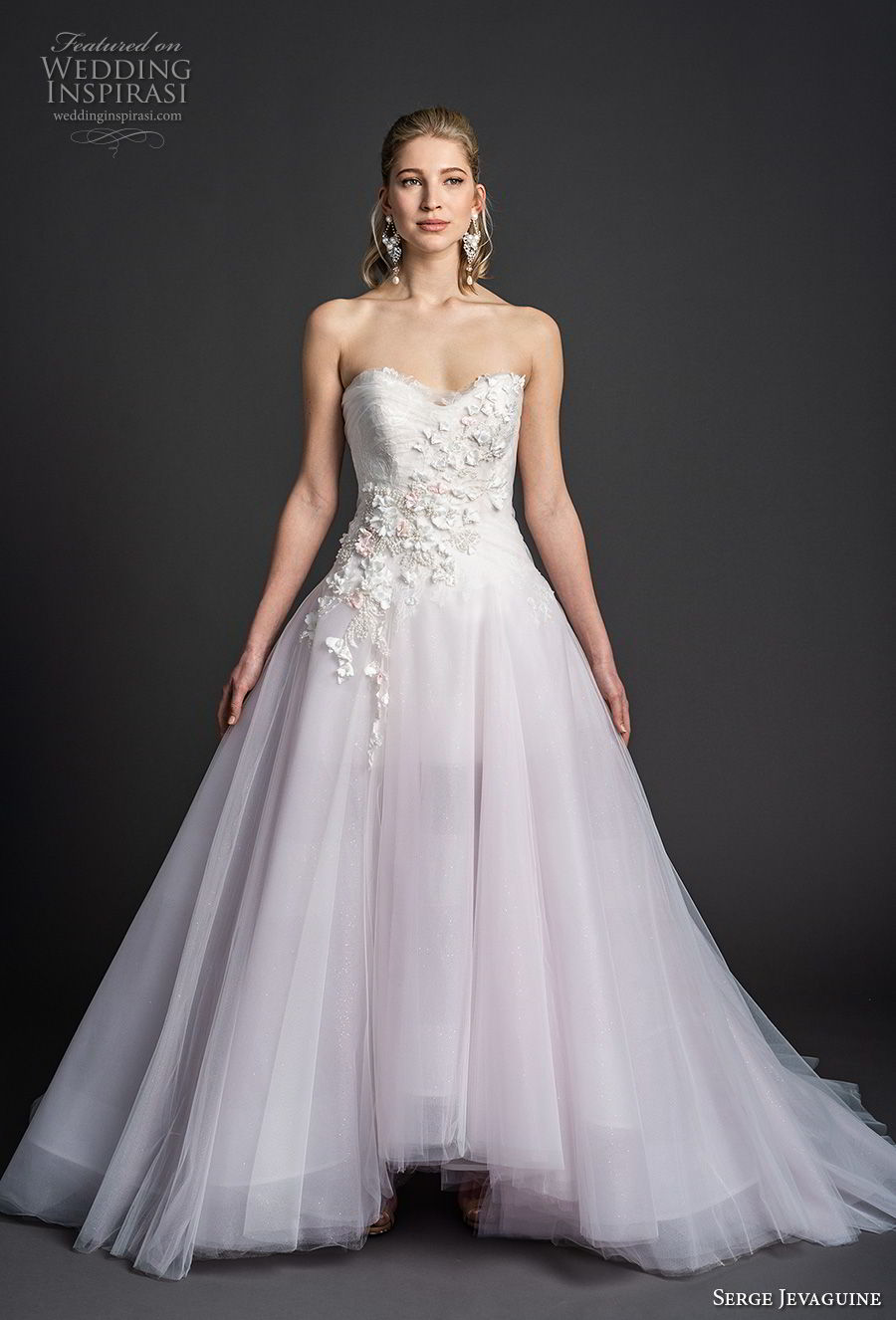 serge jevaguine 2019 bridal strapless sweetheart neckline heavily embellished bodice tulle skirt romantic blush a  line wedding dress v back chapel train (3) mv