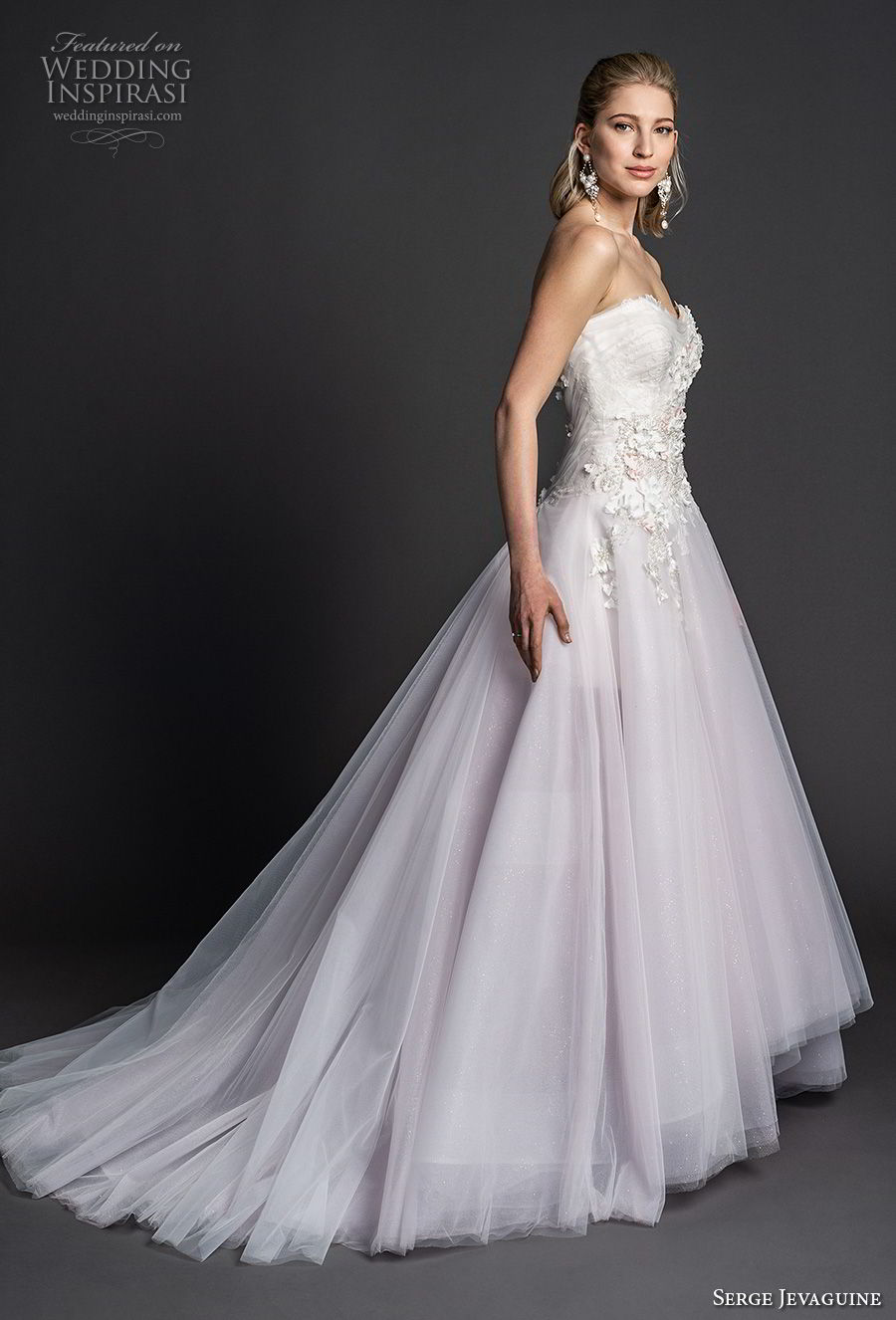 serge jevaguine 2019 bridal strapless sweetheart neckline heavily embellished bodice tulle skirt romantic blush a  line wedding dress v back chapel train (3) sdv