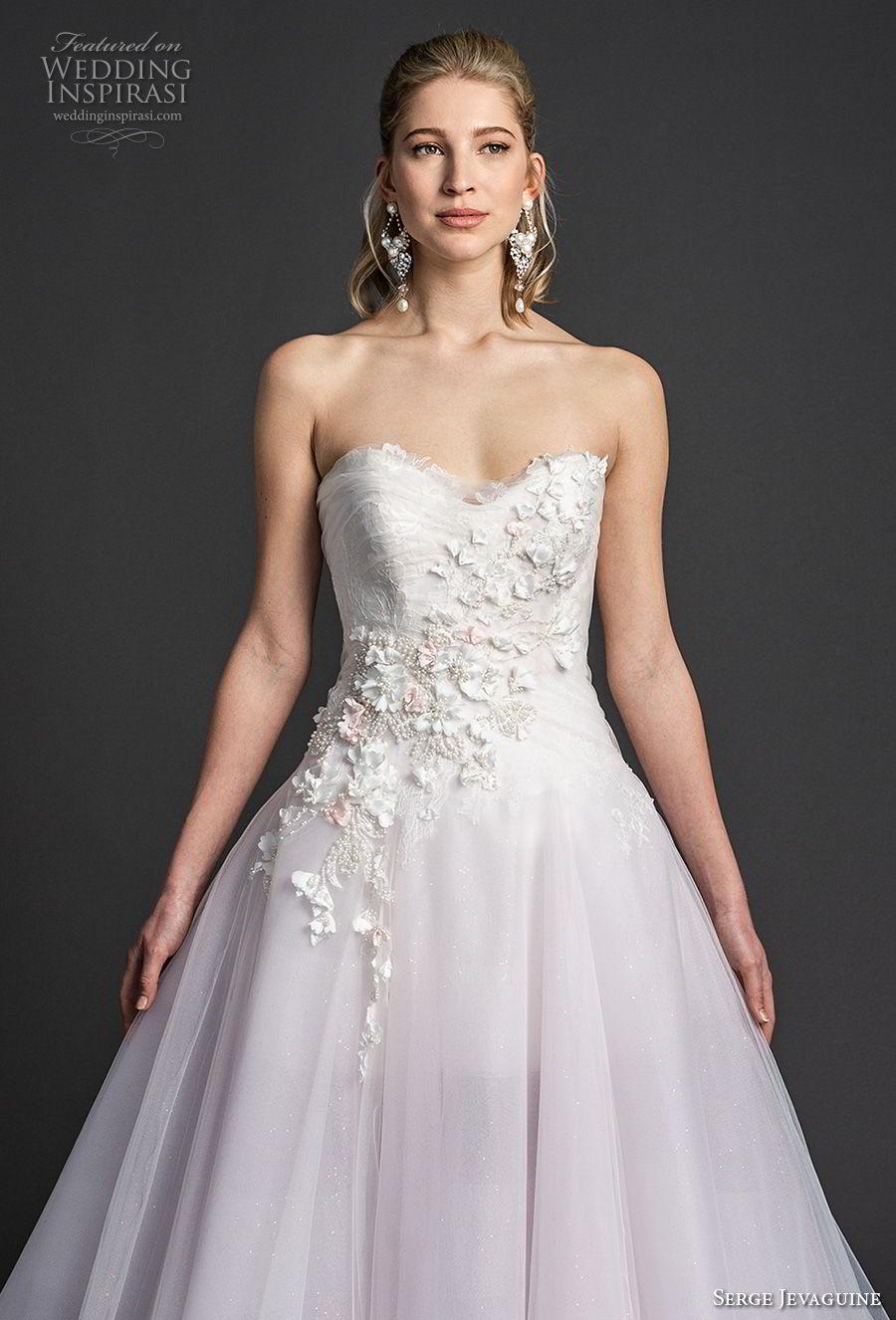 serge jevaguine 2019 bridal strapless sweetheart neckline heavily embellished bodice tulle skirt romantic blush a  line wedding dress v back chapel train (3) zv