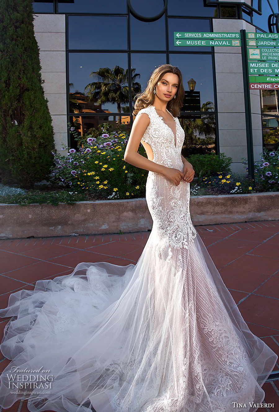 tina valerdi 2019 bridal cap sleeves deep plunging v neckline heavily embellished bodice elegant fit and flare wedding dress keyhole back royal train (11) mv