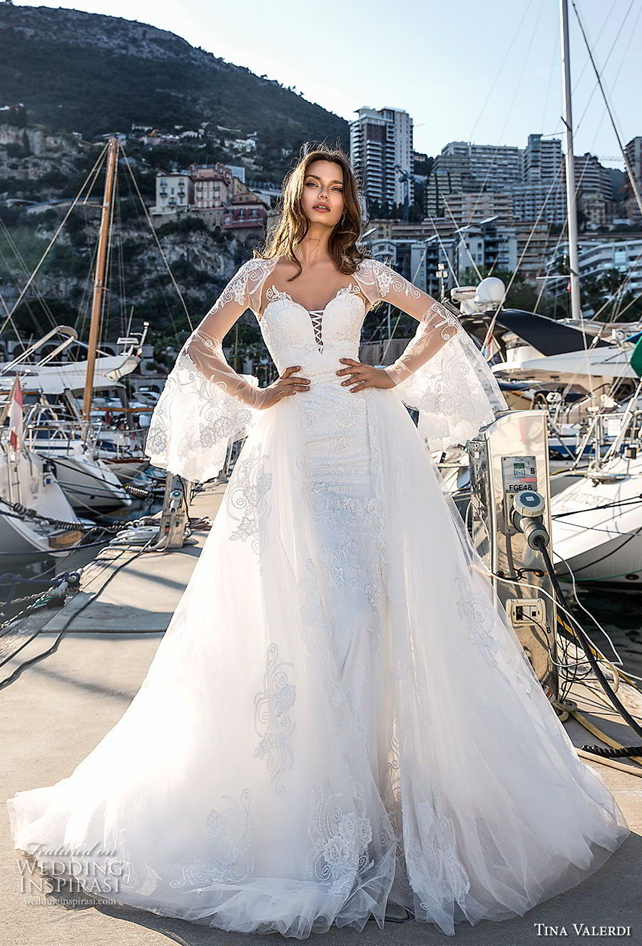 tina valerdi 2019 bridal detachable long bell sleeves sweetheart neckline full embellishment romantic princess ball gown a line wedding dress royal train (10) mv