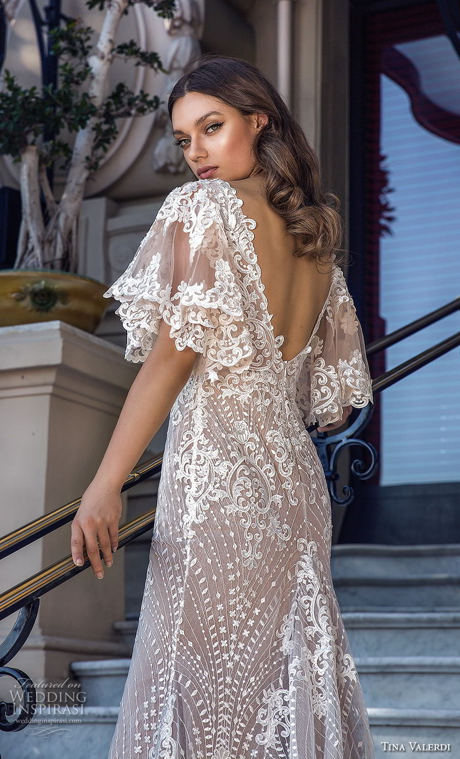 tina valerdi 2019 bridal half butterfly sleeves v neck full embellishment romantic bohemian fit and flare wedding dress open v back chapel train (12) bv