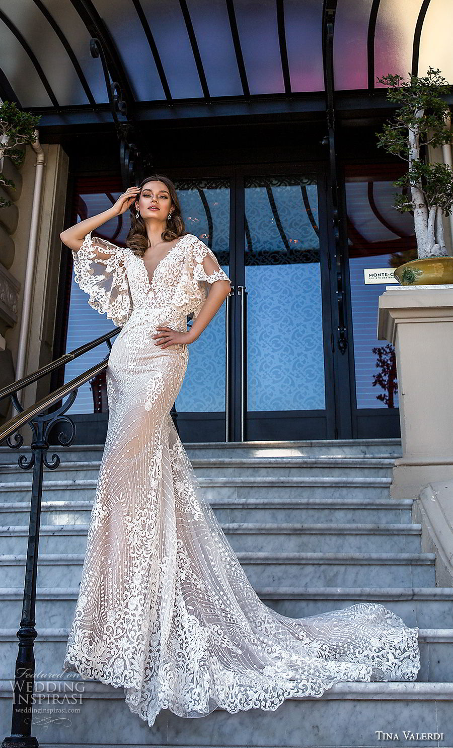 tina valerdi 2019 bridal half butterfly sleeves v neck full embellishment romantic bohemian fit and flare wedding dress open v back chapel train (12) mv