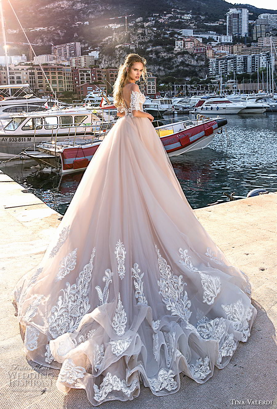 tina valerdi 2019 bridal half sleeves sweetheart neckline heavily embellished bodice romantic princess blush ball gown a line wedding dress sheer button back chapel train (4) bv