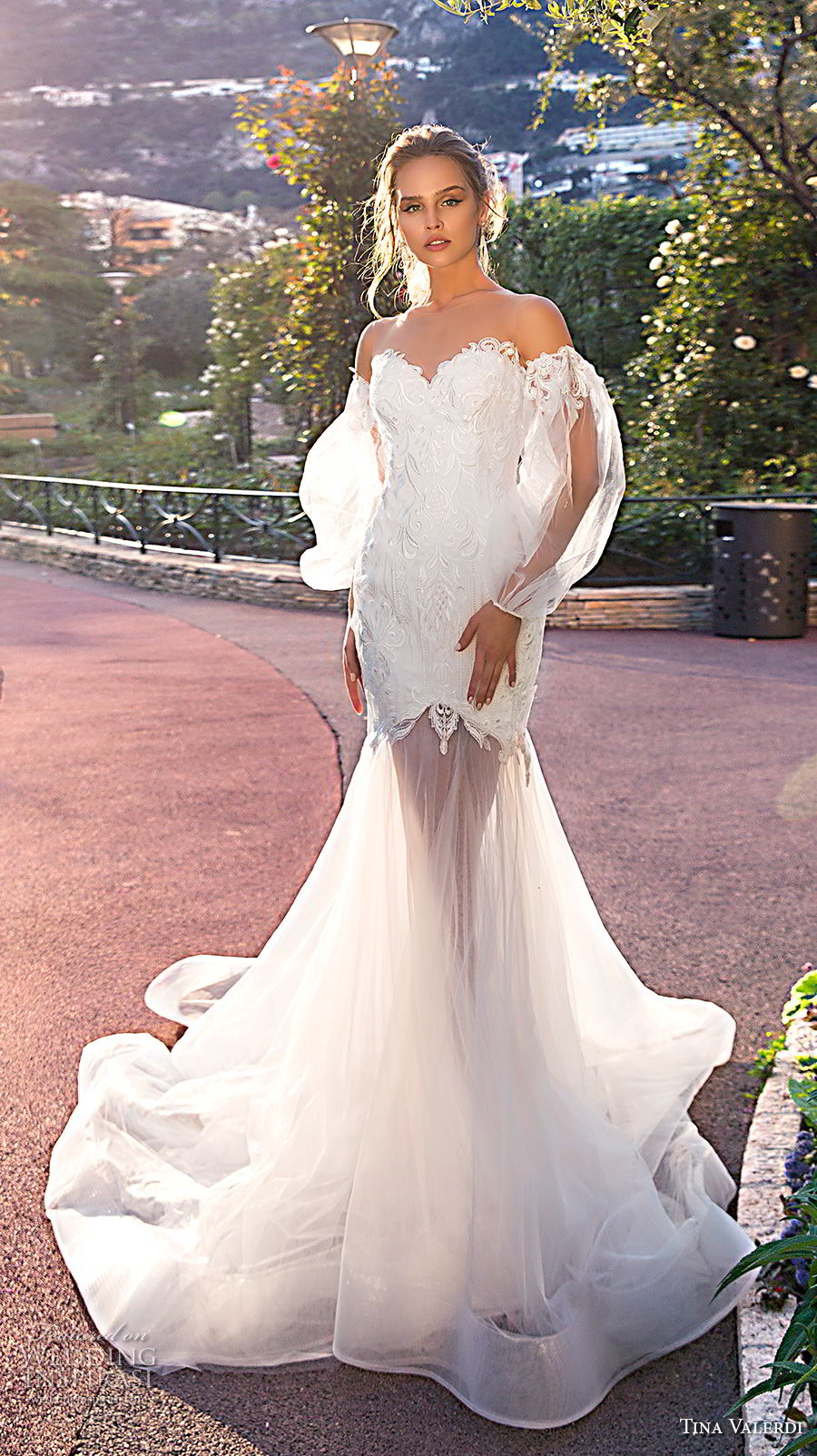 tina valerdi 2019 bridal long bishop sleeves off the shoulder sweetheart neckline heavily embellished bodice romantic trumpet wedding dress sheer button back chapel train (6) mv