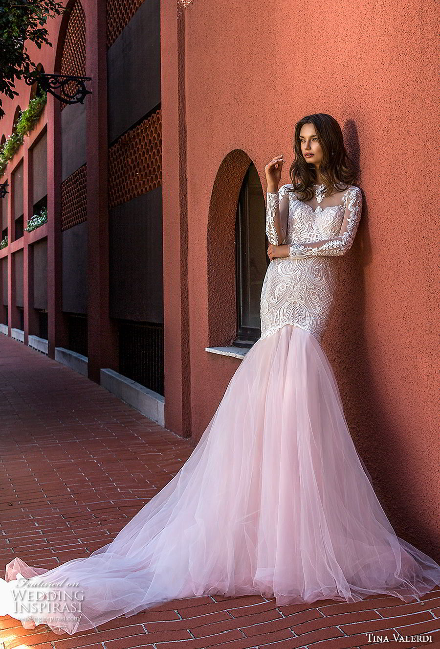 tina valerdi 2019 bridal long sleeves illusion jewel sweetheart neckline heavily embellished bodice blush mermaid wedding dress keyhole back chapel train (7) mv