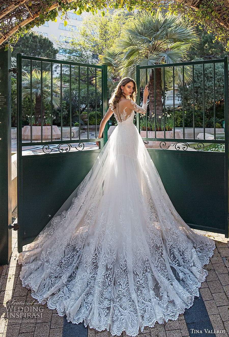 tina valerdi 2019 bridal long sleeves illusion v sweetheart neckline full embellishment romantic a line wedding dress sheer button back chapel train (1) bv