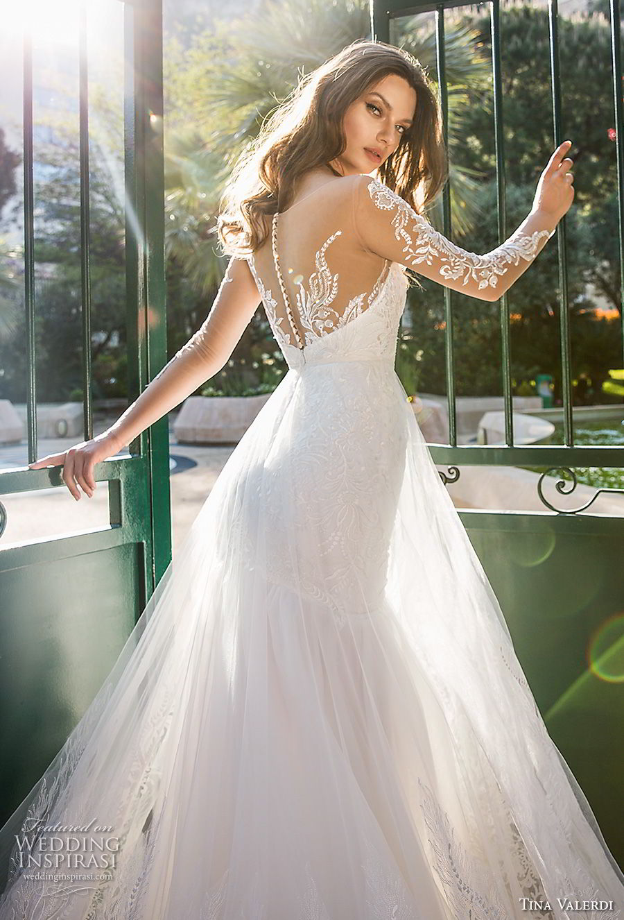 tina valerdi 2019 bridal long sleeves illusion v sweetheart neckline full embellishment romantic a line wedding dress sheer button back chapel train (1) zbv