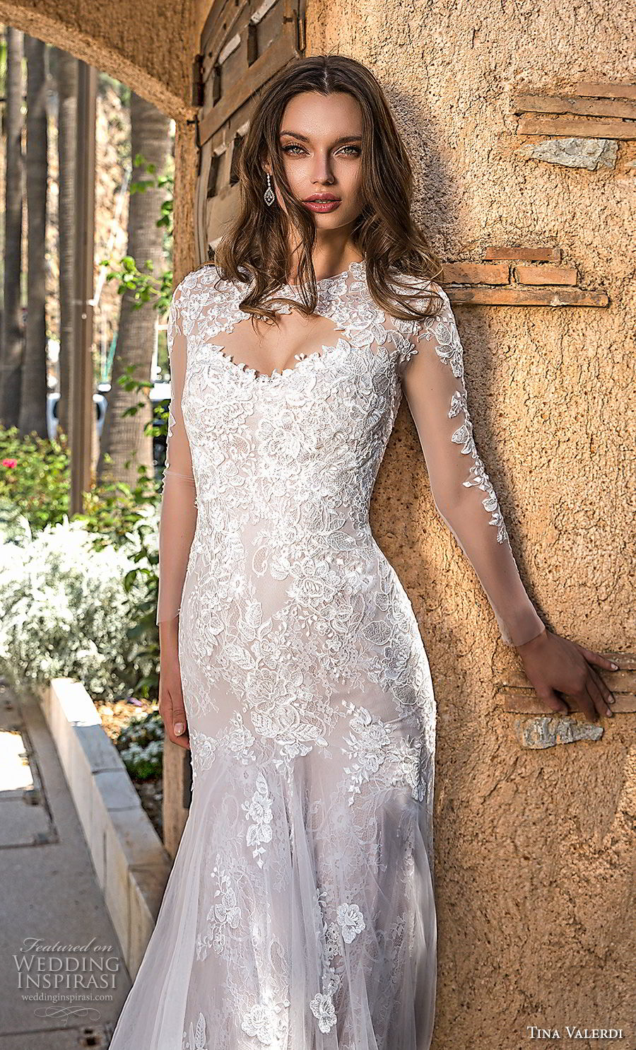 tina valerdi 2019 bridal long sleeves jewel keyhole neckline heavily embellished bodice elegant fit and flare wedding dress keyhole back chapel train (5) zv