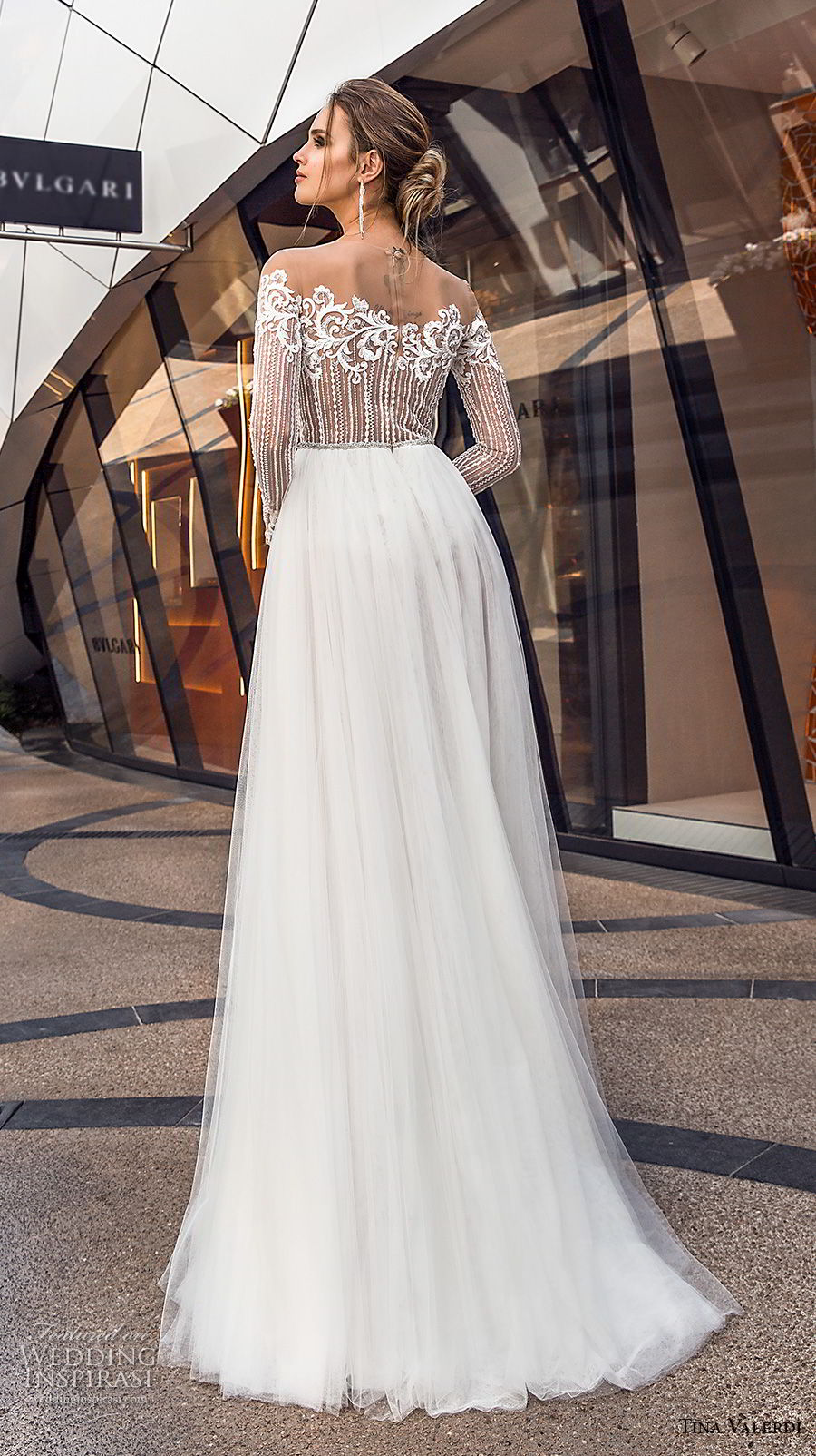 tina valerdi 2019 bridal long sleeves off the shoulder heavily embellished bodice tulle skirt romantic soft a line wedding dress lace back sweep train (13) bv