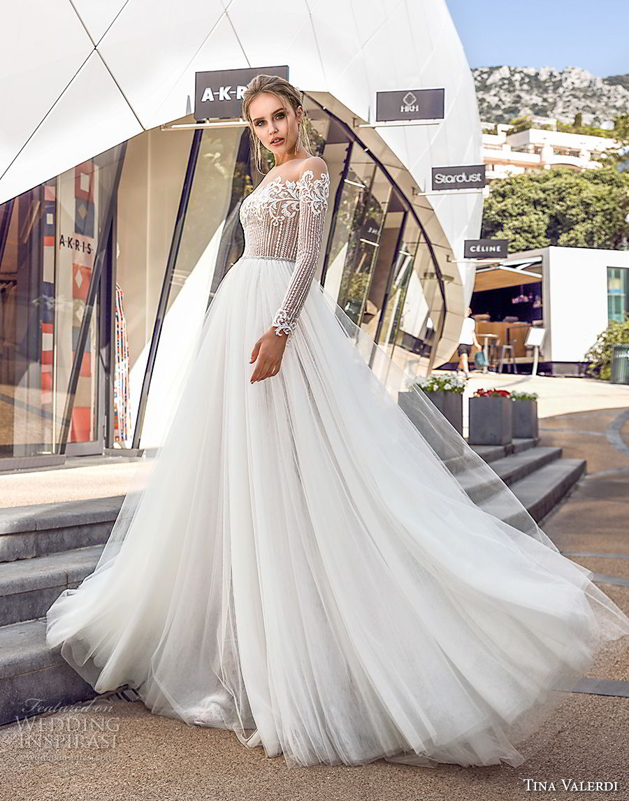 tina valerdi 2019 bridal long sleeves off the shoulder heavily embellished bodice tulle skirt romantic soft a line wedding dress lace back sweep train (13) mv