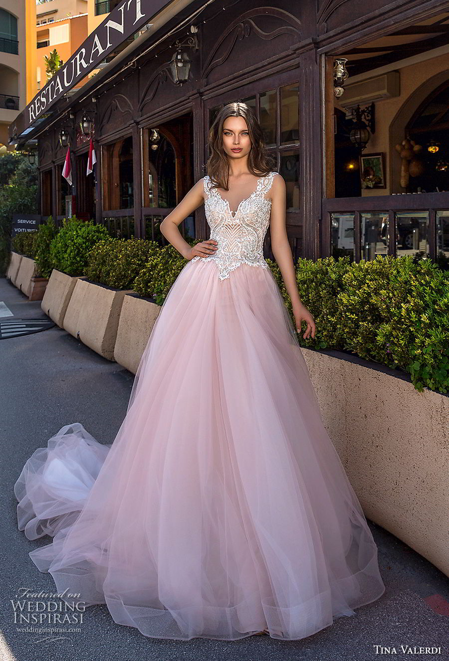 tina valerdi 2019 bridal sleeveless thick strap v neck heavily embellished bodice tulle skirt romantic blush ball gown a line wedding dress sheer button back chapel train (8) mv