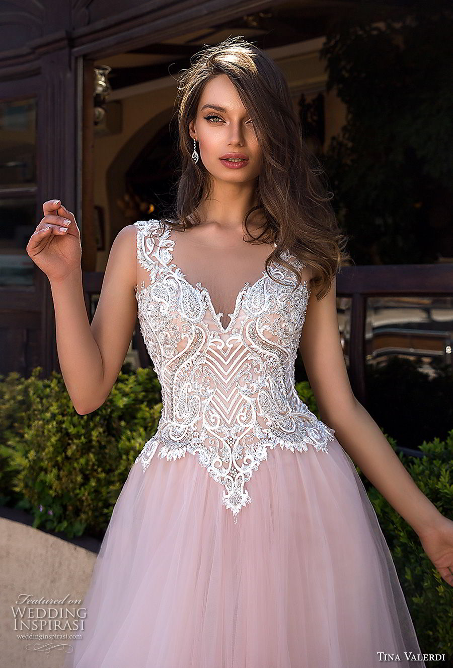tina valerdi 2019 bridal sleeveless thick strap v neck heavily embellished bodice tulle skirt romantic blush ball gown a line wedding dress sheer button back chapel train (8) zv