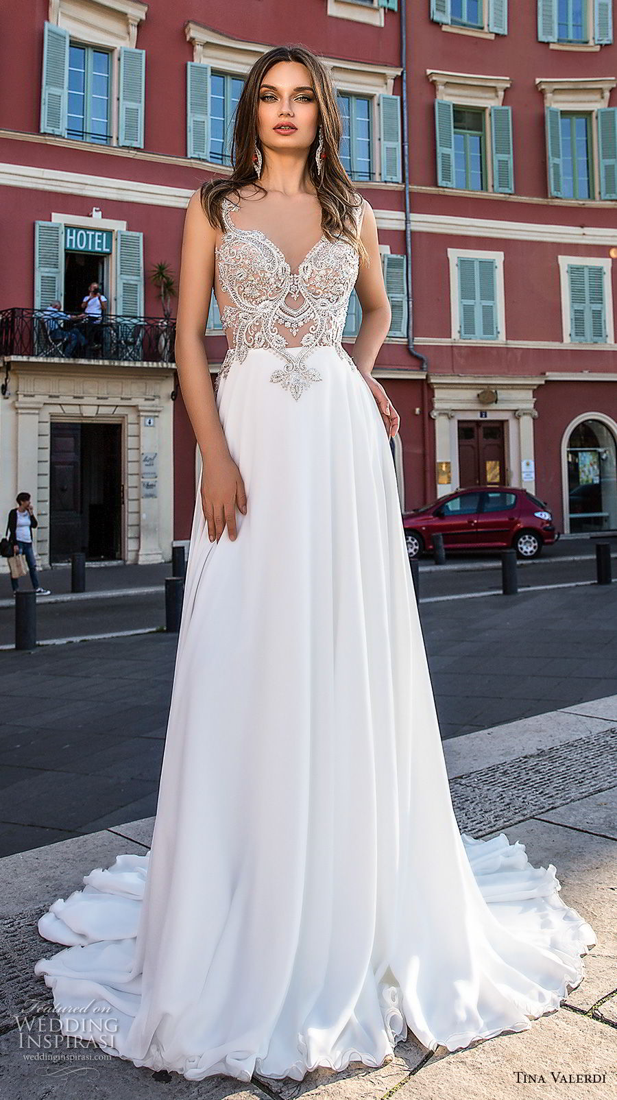 tina valerdi 2019 bridal sleeveless with strap sweetheart neckline heavily embellished bodice glitzy glamorous soft a line wedding dress v back chapel train (9) mv