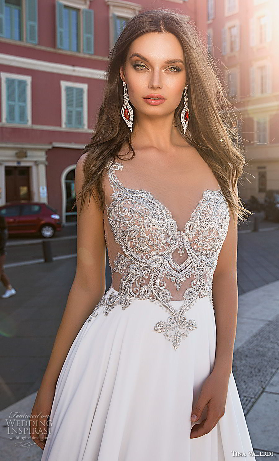 tina valerdi 2019 bridal sleeveless with strap sweetheart neckline heavily embellished bodice glitzy glamorous soft a line wedding dress v back chapel train (9) zv