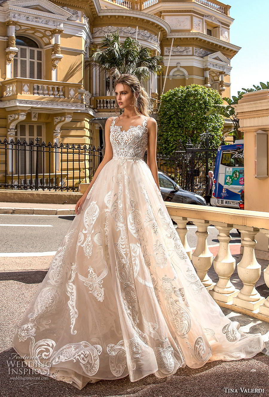 tina valerdi 2019 bridal sleeves sweetheart neckline full embellishment princess champagne ball gown a  line wedding dress sheer button back chapel train (2) mv