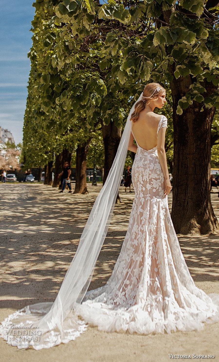 victoria soprano 2019 bridal cap sleeves v neck full embellishment elegant modified a  line wedding dress open back medium train (13) bv