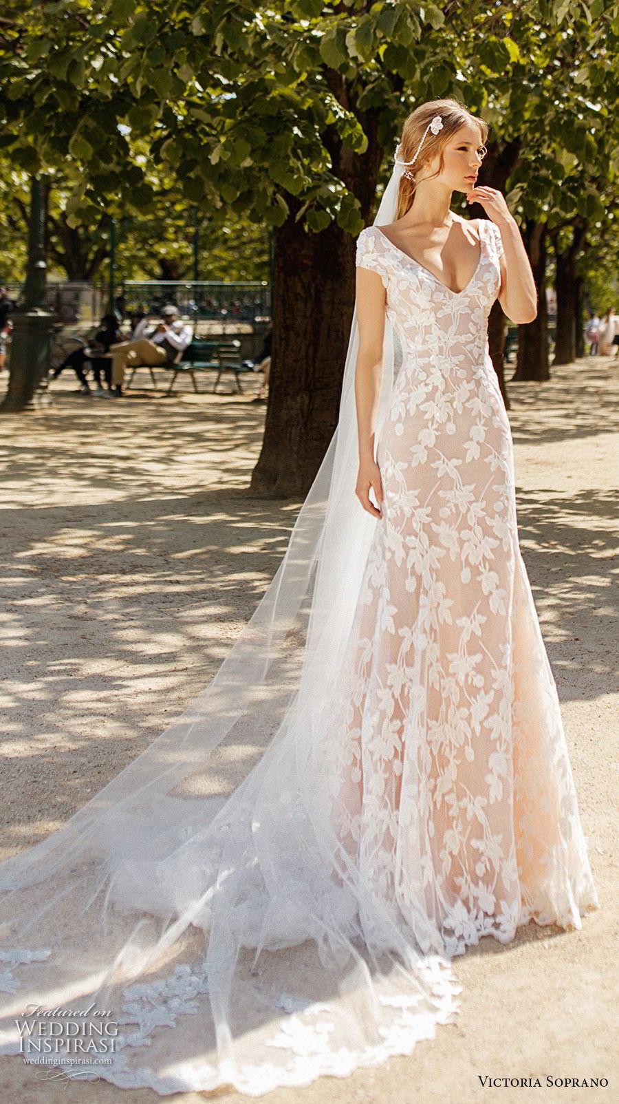 victoria soprano 2019 bridal cap sleeves v neck full embellishment elegant modified a  line wedding dress open back medium train (13) mv