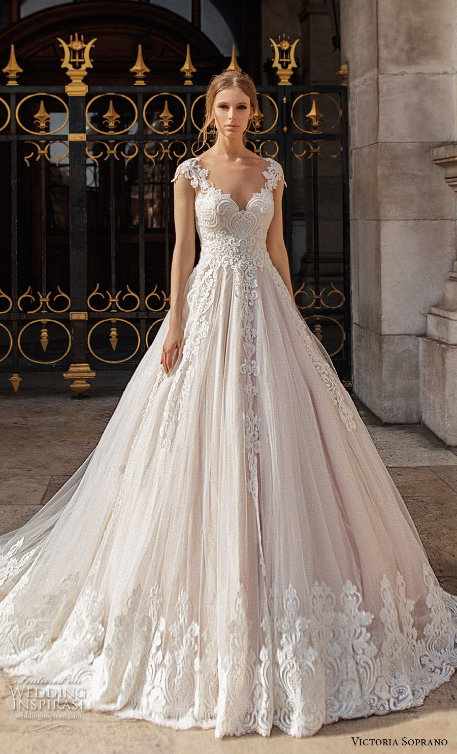 victoria soprano 2019 bridal cap sleeves v neck heavily embellished bodice romantic princess a  line wedding dress sheer button back chapel train (11) mv