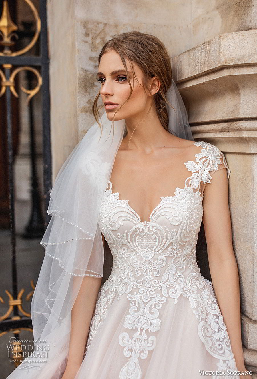 victoria soprano 2019 bridal cap sleeves v neck heavily embellished bodice romantic princess a  line wedding dress sheer button back chapel train (11) zv