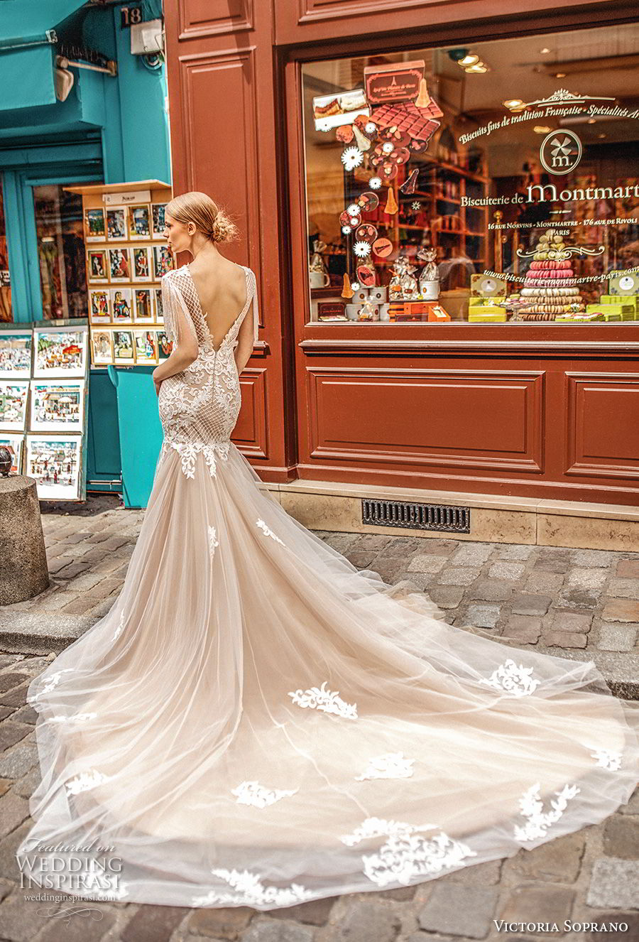 victoria soprano 2019 bridal half sleeves bateau neckline heavily embellished bodice elegant mermaid wedding dress open v back long train (7) bv