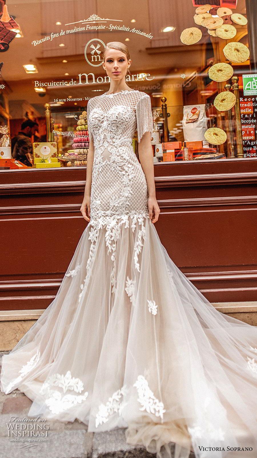 victoria soprano 2019 bridal half sleeves bateau neckline heavily embellished bodice elegant mermaid wedding dress open v back long train (7) mv