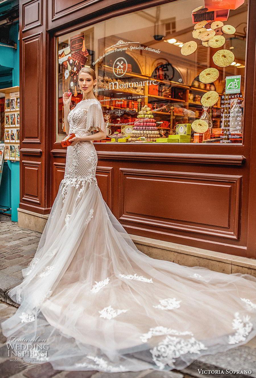 victoria soprano 2019 bridal half sleeves bateau neckline heavily embellished bodice elegant mermaid wedding dress open v back long train (7) sdv