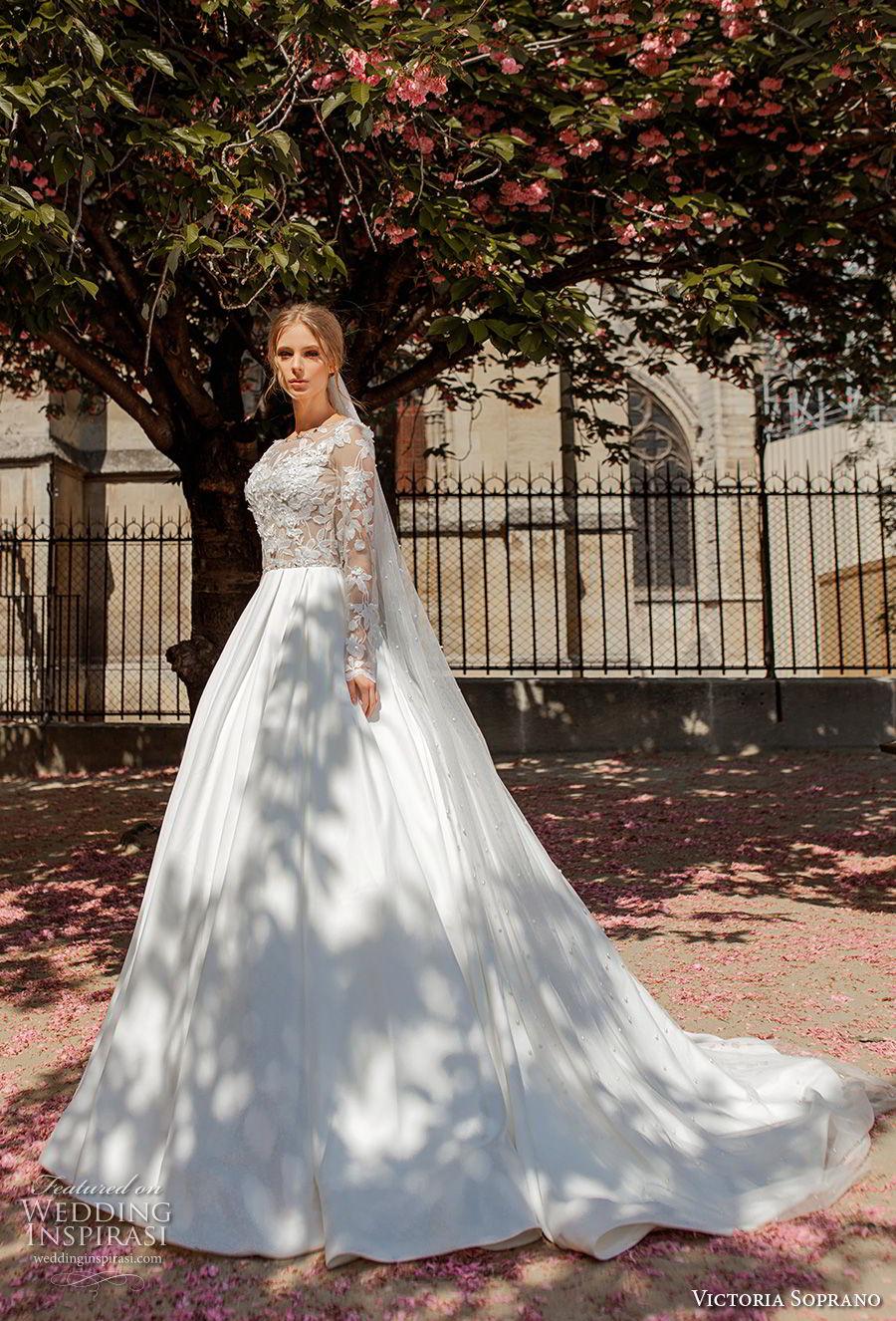 victoria soprano 2019 bridal long sleeves bateau neck heavily embellished bodice princess ball gown a  line wedding dress keyhole back chapel train (14) mv
