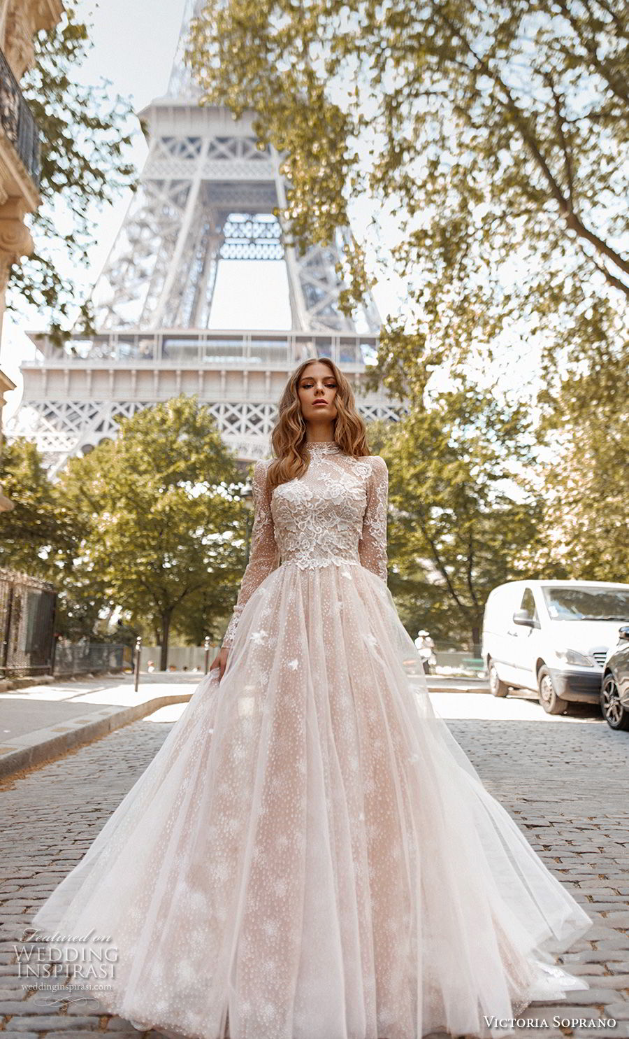 victoria soprano 2019 bridal long sleeves high neck heavily embellished bodice elegant princess a  line wedding dress open low back chapel train (12) mv
