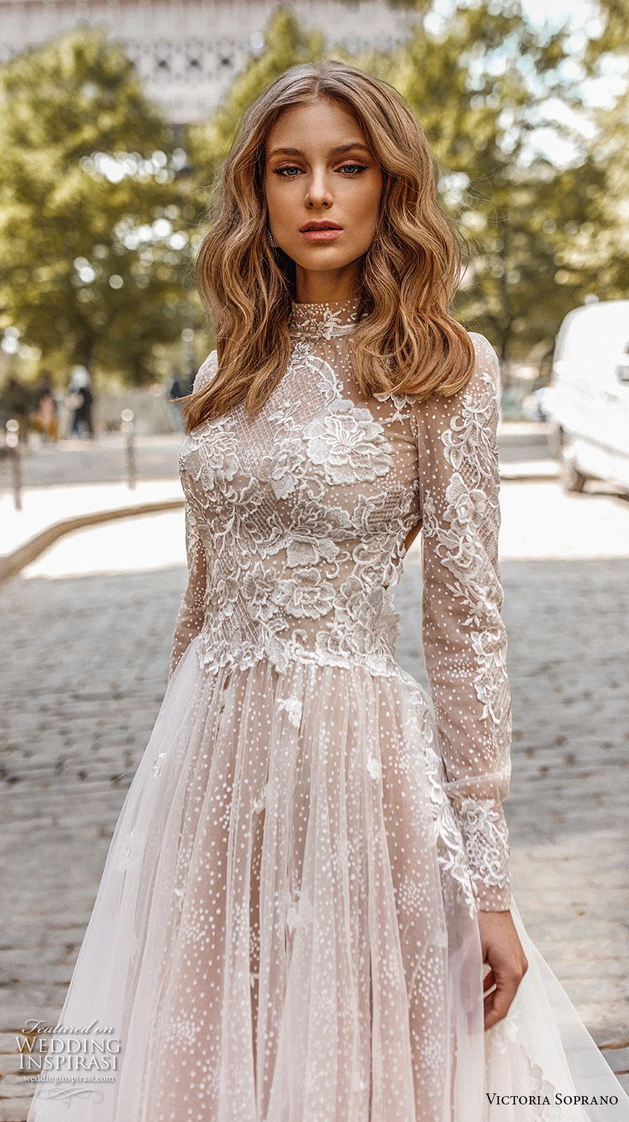 victoria soprano 2019 bridal long sleeves high neck heavily embellished bodice elegant princess a  line wedding dress open low back chapel train (12) zv
