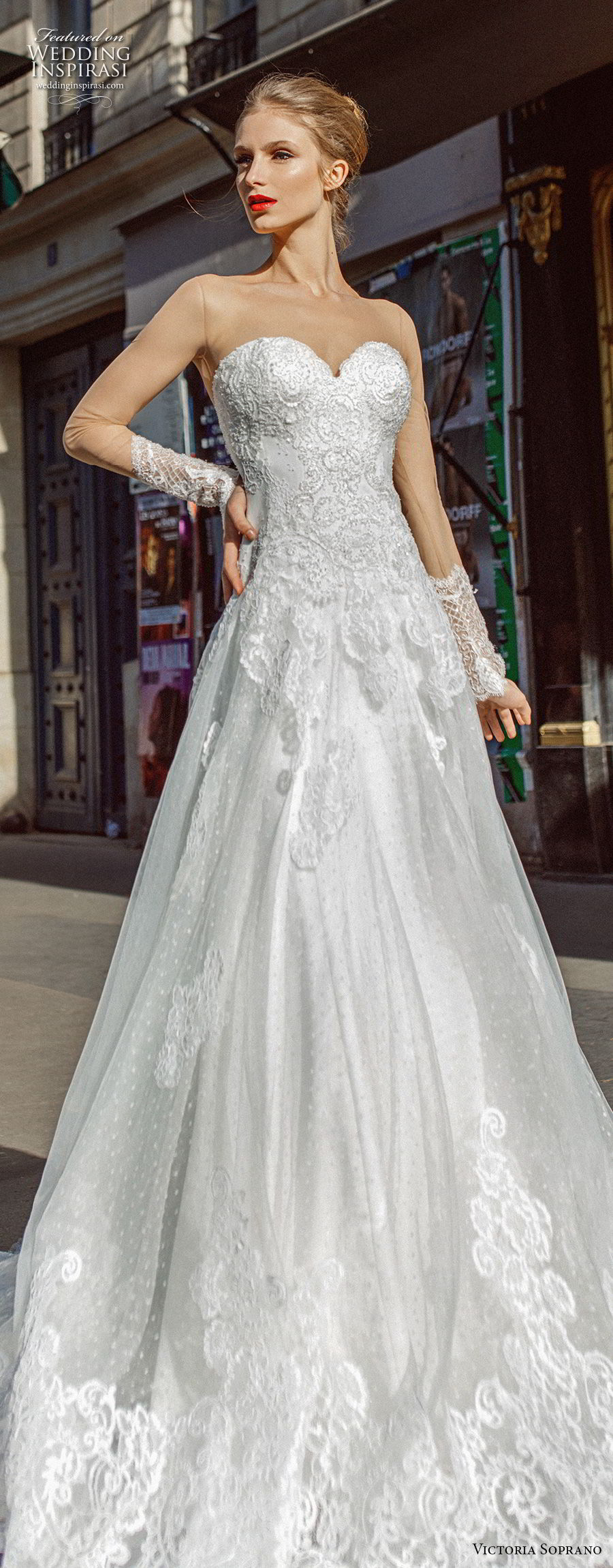victoria soprano 2019 bridal long sleeves illusion bateau sweetheart neckline heavily embellished bodice princess a  line wedding dress lace back chapel train (3) lv
