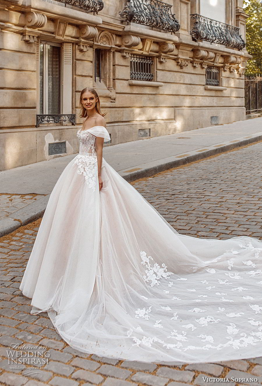 victoria soprano 2019 bridal off the shoulder sweetheart neckline heavily embellished bodice romantic princess a  line ball gown weddding dress royal train (1) mv