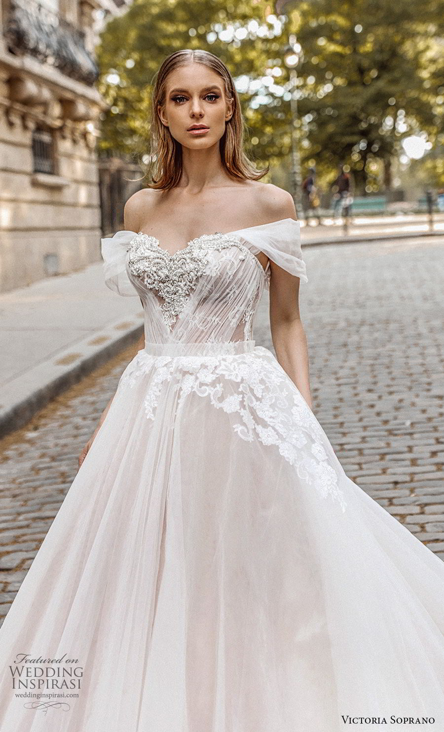 victoria soprano 2019 bridal off the shoulder sweetheart neckline heavily embellished bodice romantic princess a  line ball gown weddding dress royal train (1) zv