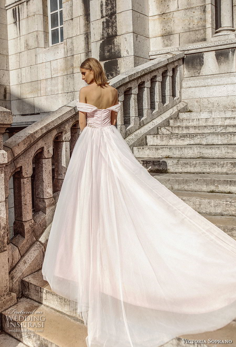 victoria soprano 2019 bridal off the shoulder sweetheart neckline ruched wrap over bodice romantic blush ball gown wedding dress chapel train (5) bv