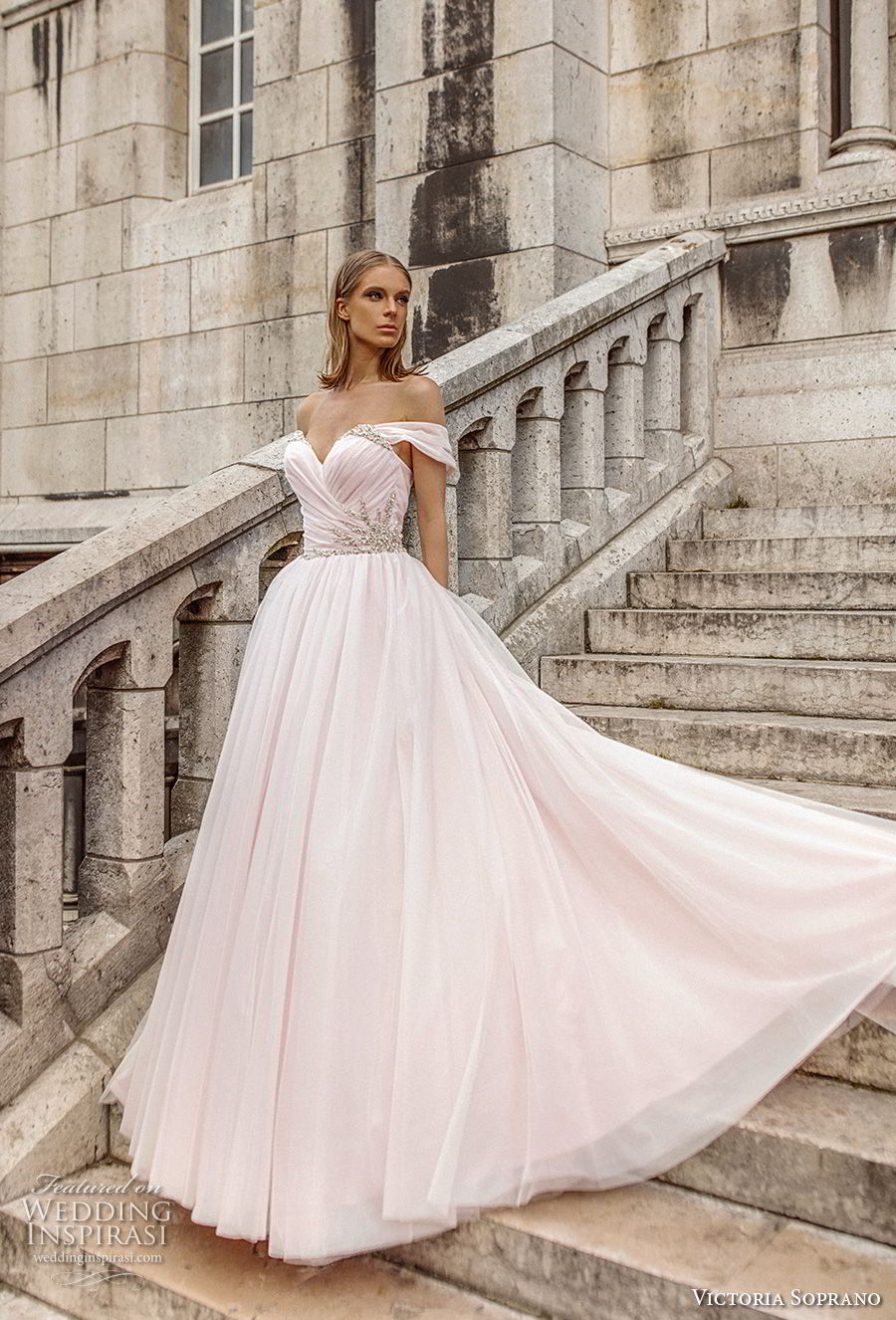 victoria soprano 2019 bridal off the shoulder sweetheart neckline ruched wrap over bodice romantic blush ball gown wedding dress chapel train (5) mv