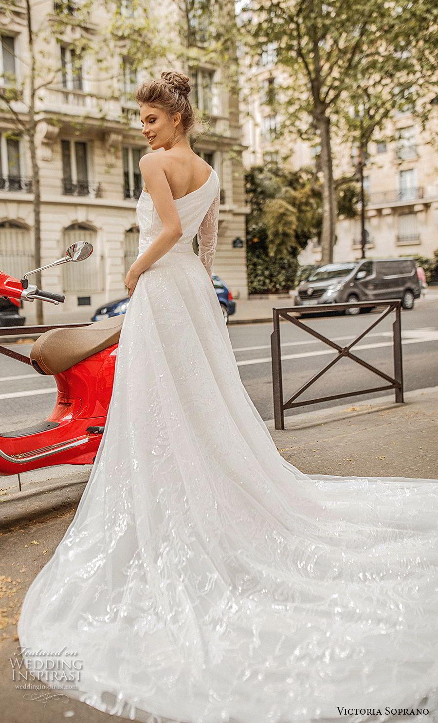 victoria soprano 2019 bridal one shoulder asymmetrical neckline simple light embellishment elegant a  line wedding dress chapel train (9) bv
