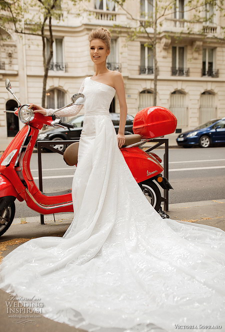 victoria soprano 2019 bridal one shoulder asymmetrical neckline simple light embellishment elegant a  line wedding dress chapel train (9) mv