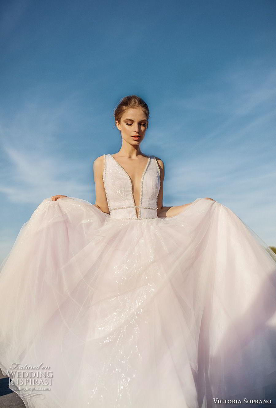 victoria soprano 2019 bridal sleeveless deep plunging v neck lightly embellished bodice tulle skirt romantic blush a  line wedding dress chapel train (10) mv