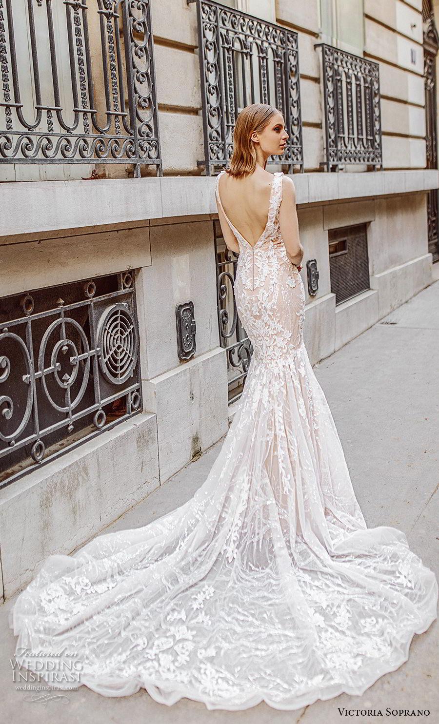 victoria soprano 2019 bridal sleeveless deep v neck full embellishment elegant romantic mermaid wedding dress open v back chapel train (4) bv