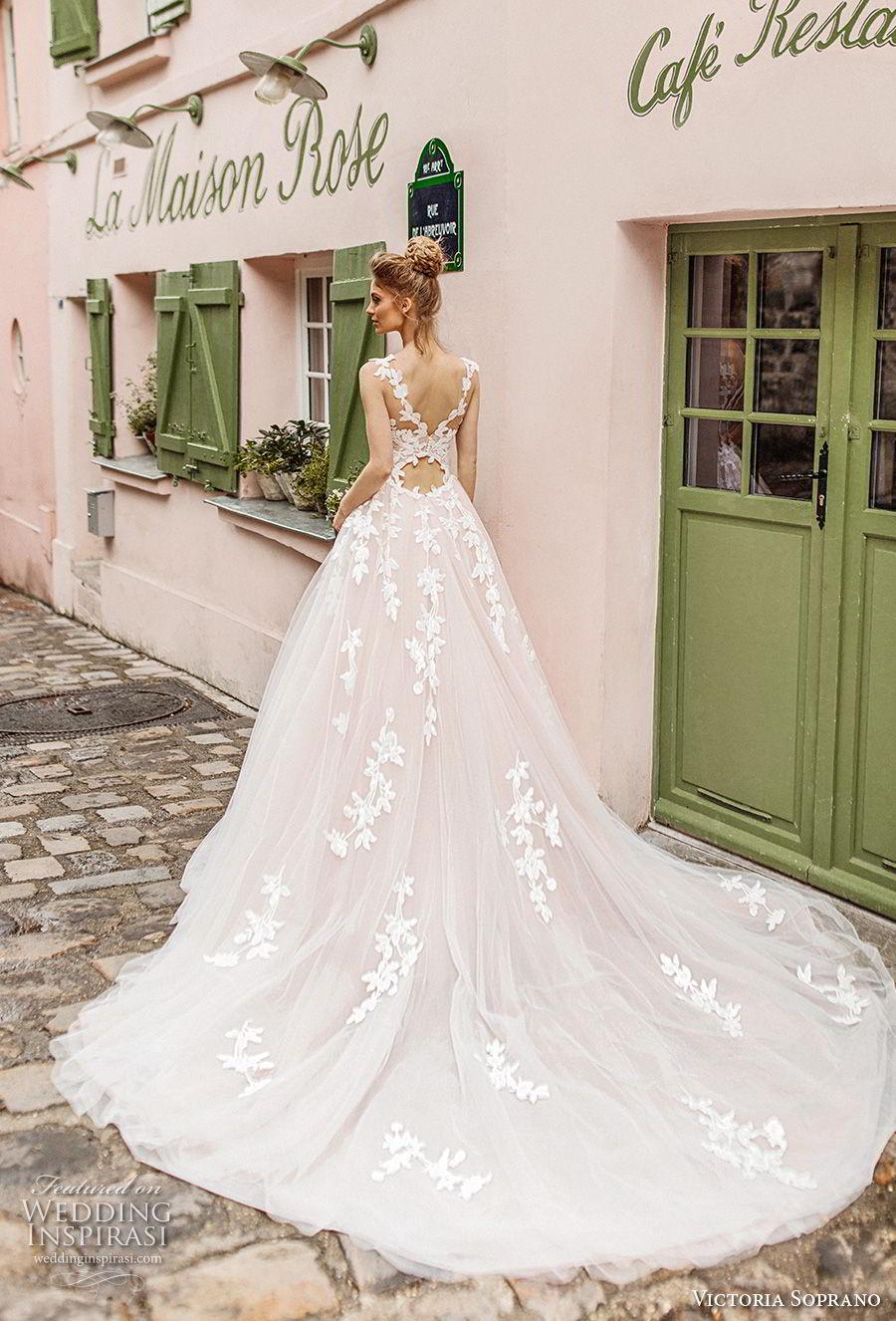victoria soprano 2019 bridal sleeveless illusion bateau sweetheart neckline heavily embellished bodice romantic blush a  line wedding dress v back chapel train (2) bv