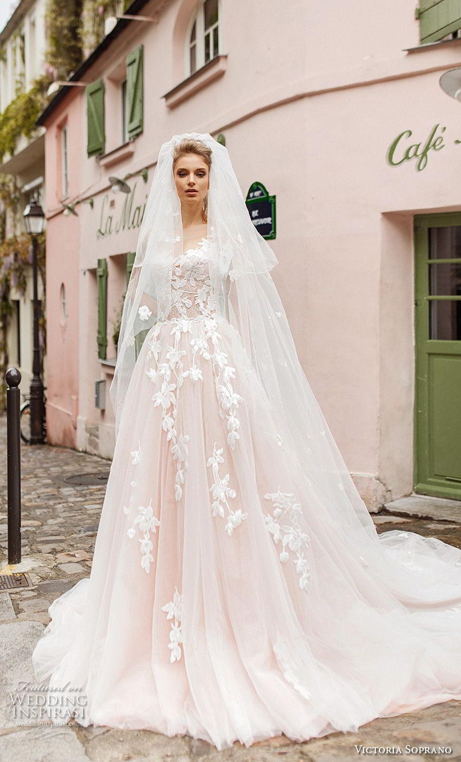 victoria soprano 2019 bridal sleeveless illusion bateau sweetheart neckline heavily embellished bodice romantic blush a  line wedding dress v back chapel train (2) mv