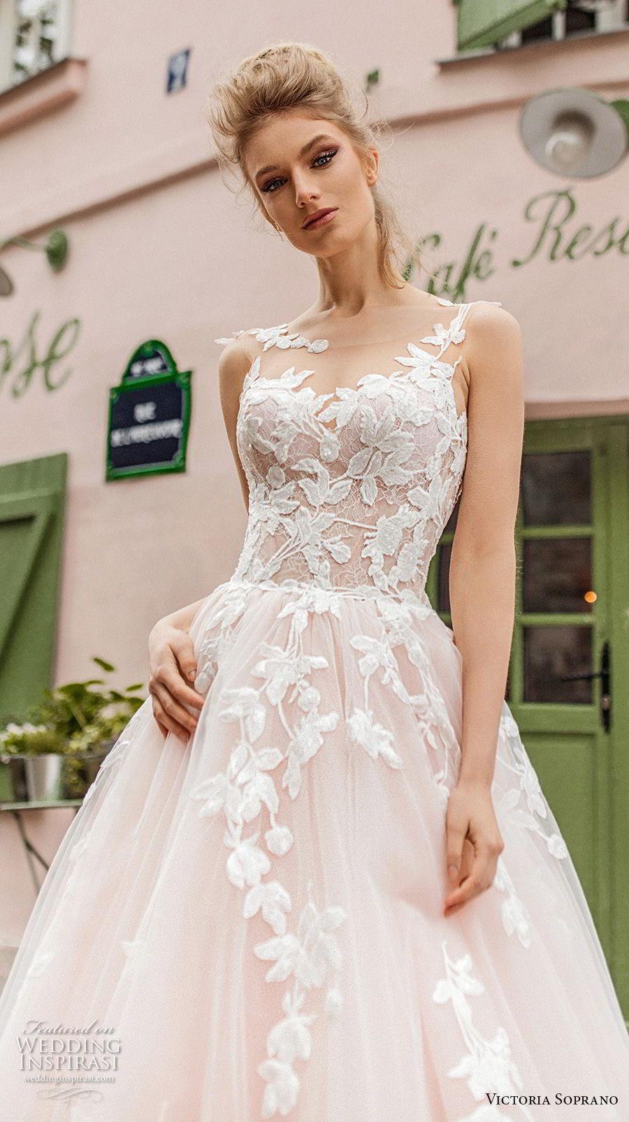 victoria soprano 2019 bridal sleeveless illusion bateau sweetheart neckline heavily embellished bodice romantic blush a  line wedding dress v back chapel train (2) zv