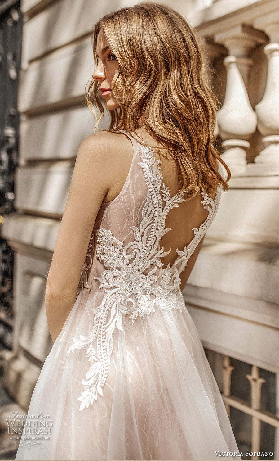 victoria soprano 2019 bridal sleeveless ribbon straps v neck heavily embellished bodice romantic soft a  line wedding dress keyhole back chapel train (16) zbv